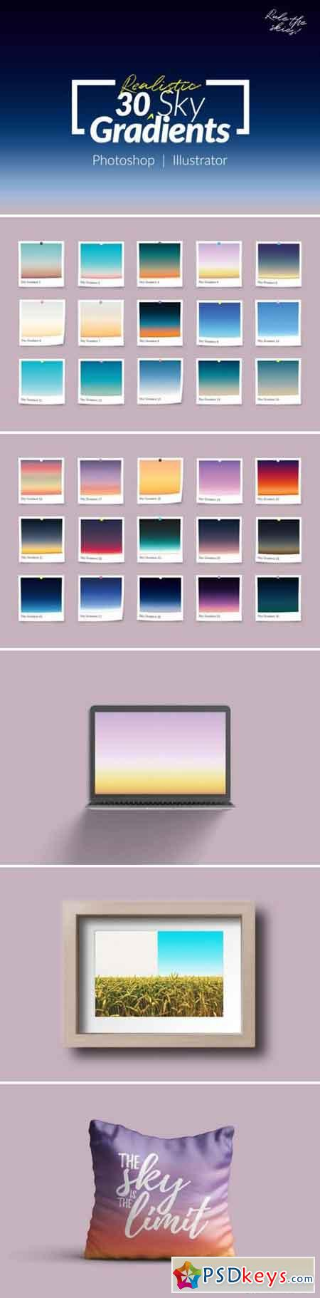 30 Realistic Sky Gradients for Photoshop & Illustrator 746626