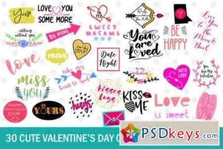 30 Cute Valentine's Day Clipart & Text Overlays