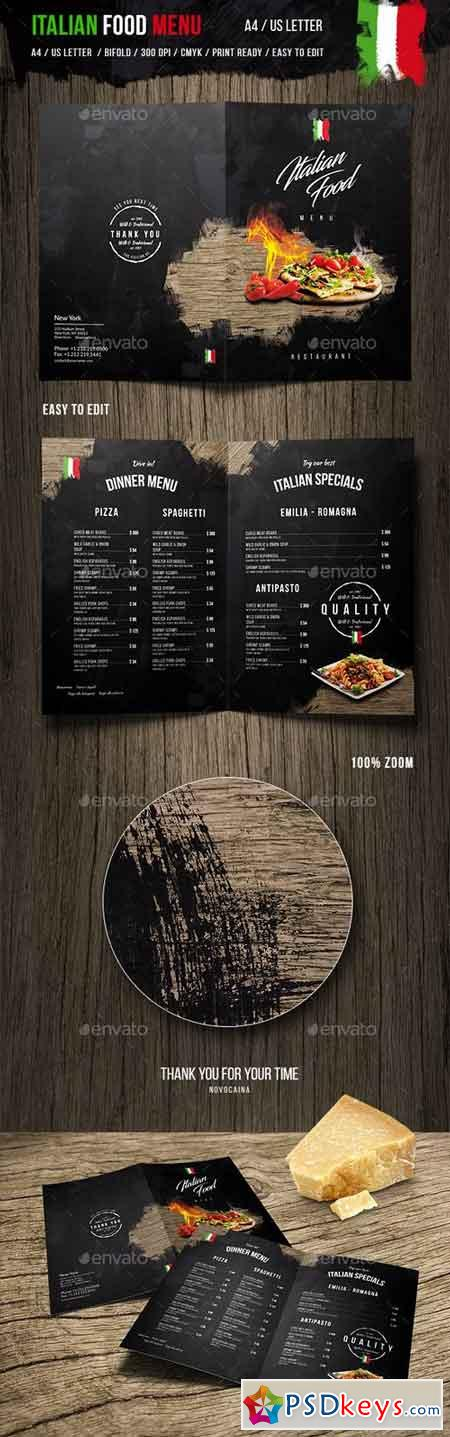 Italian Food Menu - A4 and US Letter 19981197