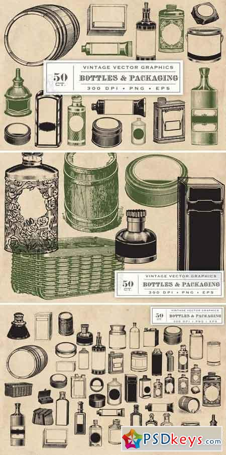 Vintage Bottles & Packaging Graphics 1327349