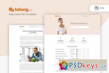Tolong - Help Desk Knowledge Base PSD Template v1