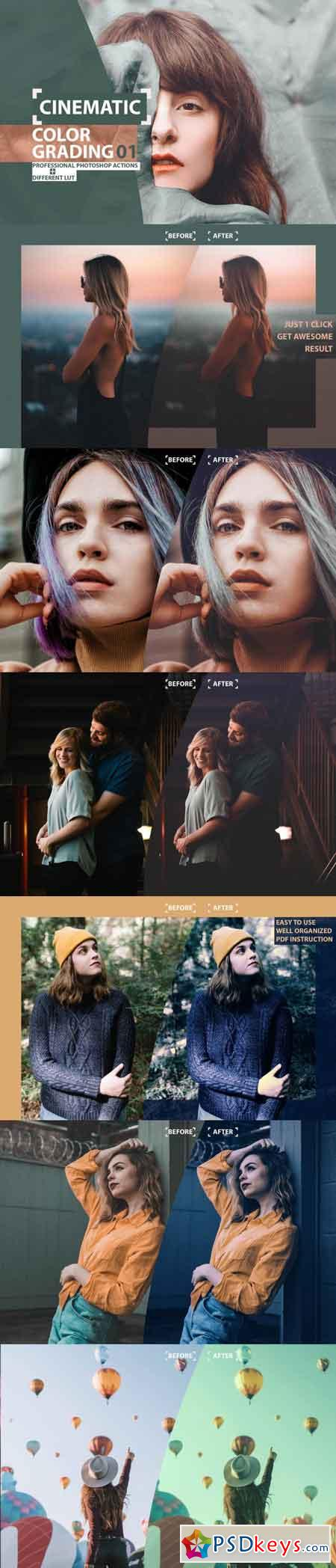 Cinematic Color Grading 01 Premium Photoshop Actions 3505473