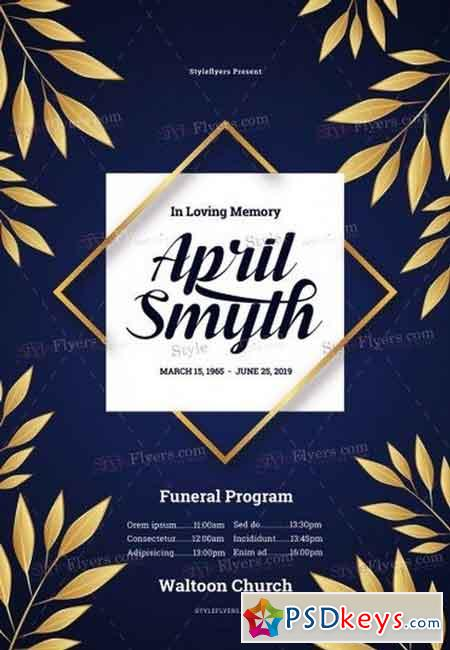 Funeral Program PSD Flyer Template 2