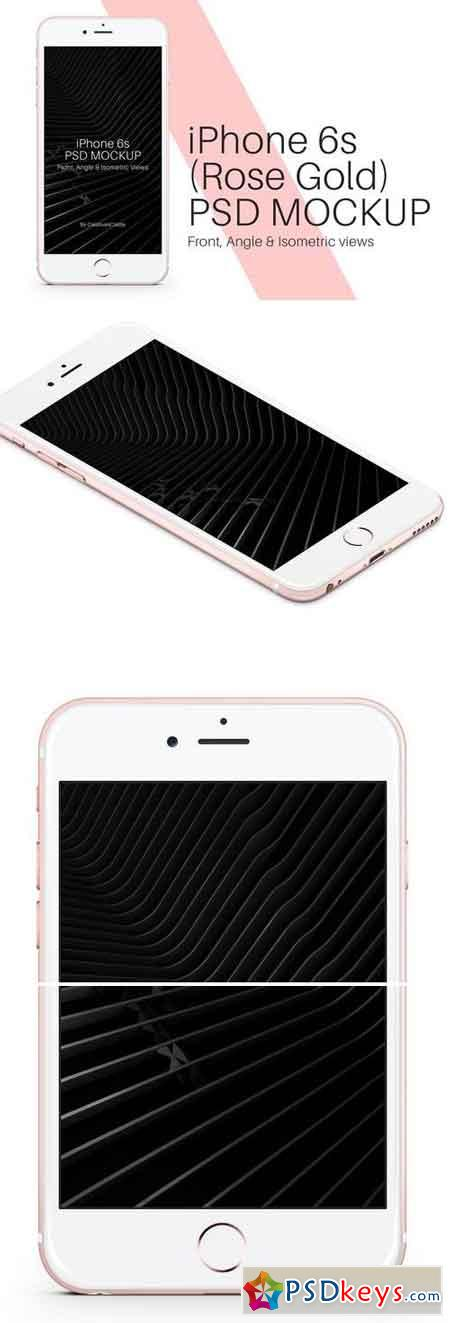 iPhone 6s Rose Gold PSD Mockup