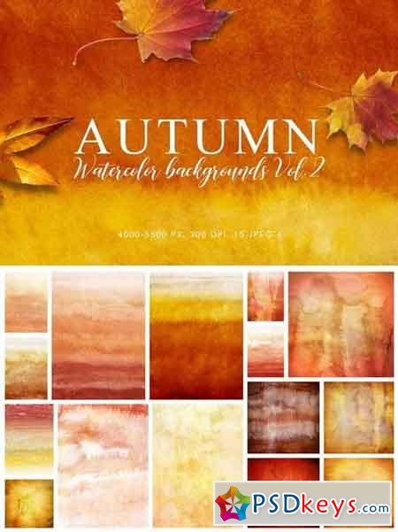 Autumn Watercolor Backgrounds Volume 2
