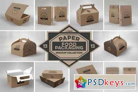 Paper Food Box Packaging Mockups Vol. 13