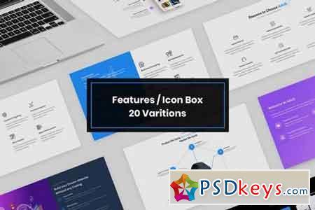 20 Features IconBox Design Web-UI Kit