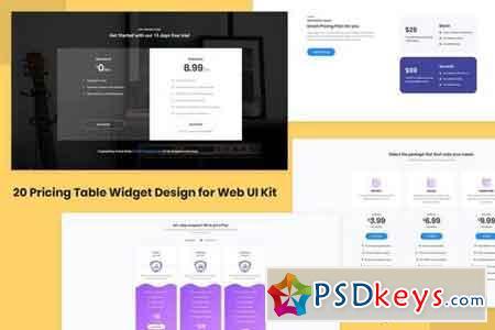 20 Pricing Table Widget Design for Web-UI Kit
