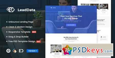 LeadData v1.0 - Lead Generation Unbounce Landing Page Template - 22886414