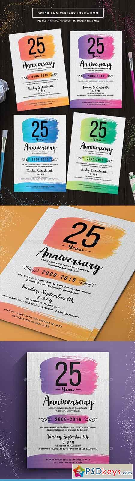 Brush Anniversary Invitation 18658369