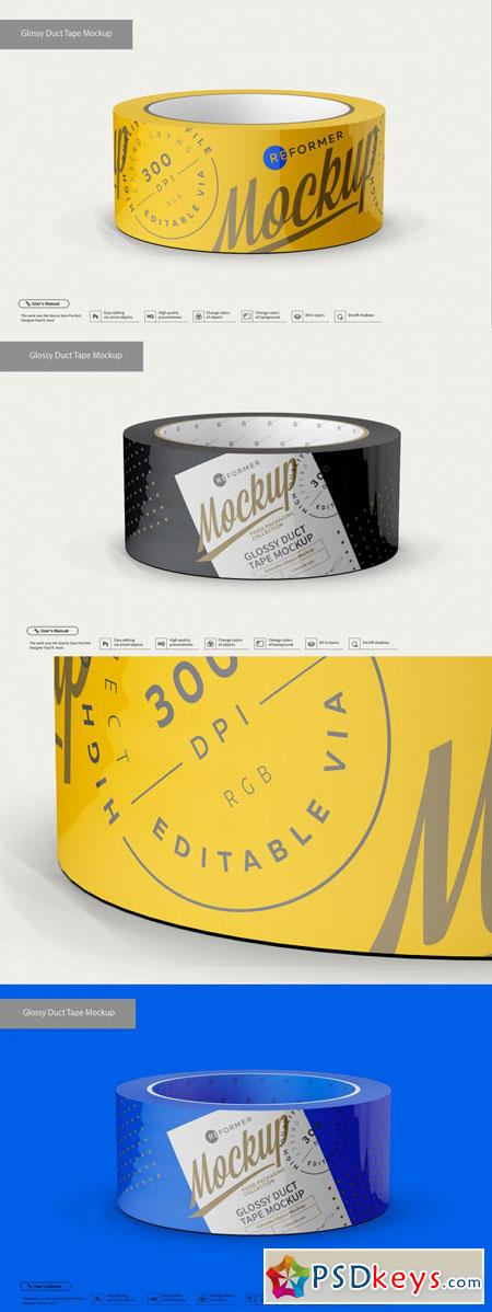Glossy Duct Tape Mockup 3509433