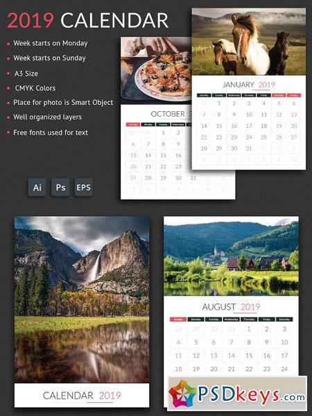 2019 Calendar 3078555