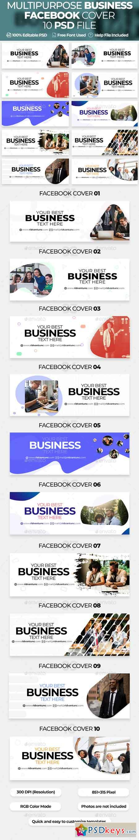 Multipurpose Business 10 Facebook Cover 22805649