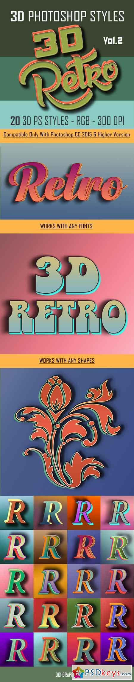 20 3D Retro Photoshop Styles asl Vol.2 22813719