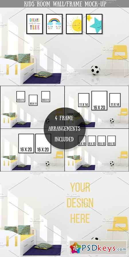 Kids Room Wall Frame Mock-up 3170973