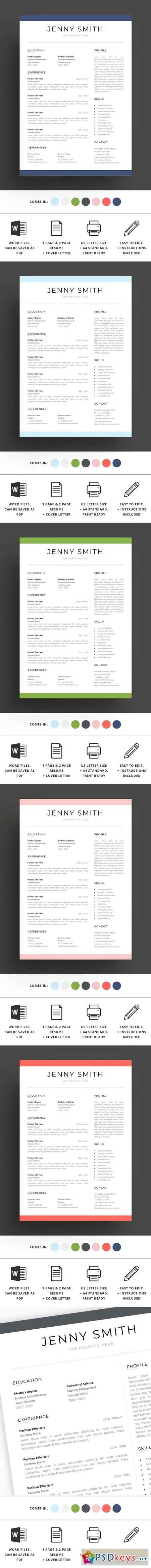 Resume Template Word Modern Clean CV 2684483