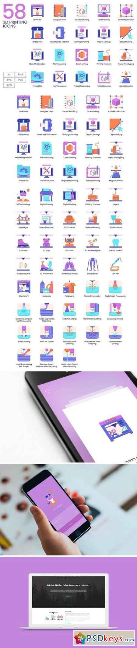 3D Printing Flat Icons