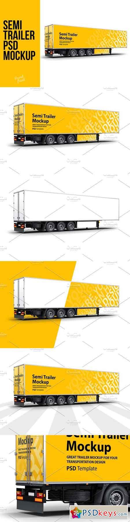 Semi Trailer Truck PSD Mockup 3202967