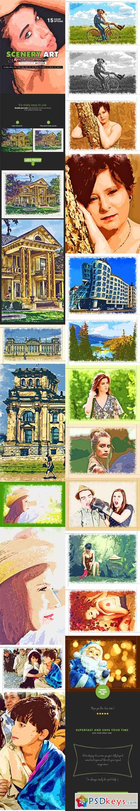 Scenery Art - Watercolor Painting Photoshop Action 19869916