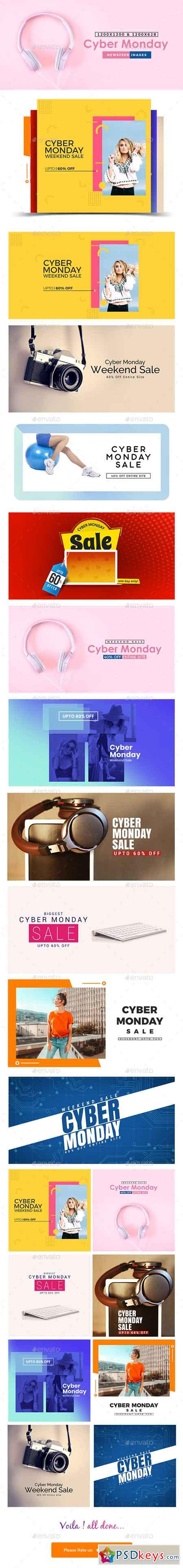 Cyber Monday Sale Facebook and Instagram Newsfeed Banners - 10 Designs 22882443