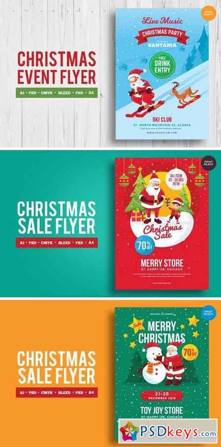 Merry Christmas Event Flyer PSD and Vector Vol2 Bundle