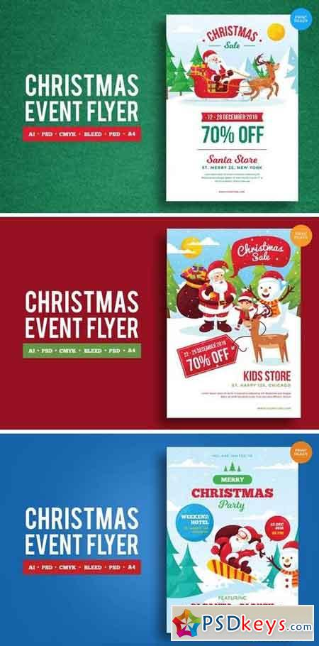 Merry Christmas Event Flyer PSD and Vector Vol1 Bundle
