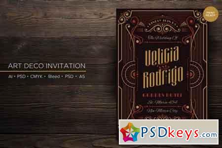 Art Deco Wedding Invitation PSD And Vector Vol 1
