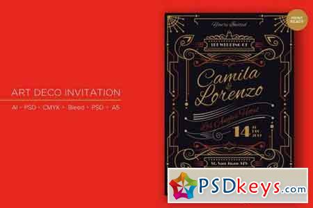 Art Deco Wedding Invitation PSD And Vector Vol 2