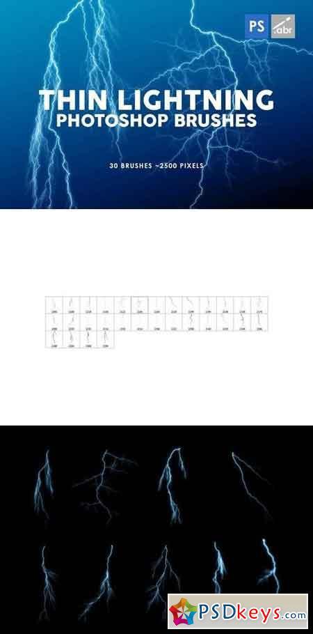 30 Thin Lightning Photoshop Stamp Brushes