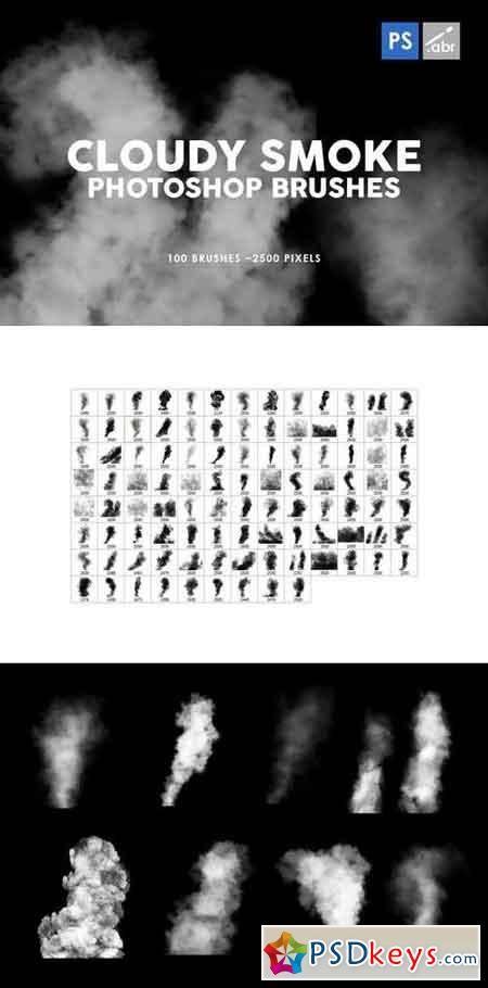 100 Cloudy Smoke Photoshop Stamp Brushes