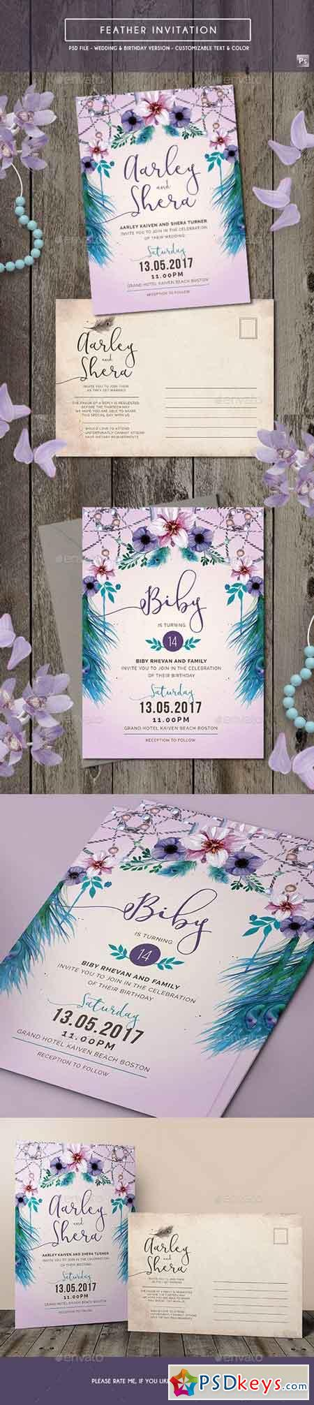Feather Invitation (Wedding & Birthday) 17787089