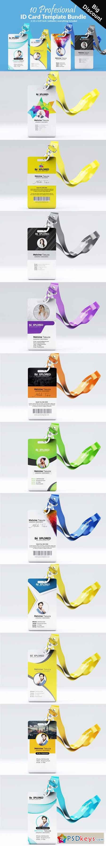 ID Card Bundle Template 10 cards 3058997
