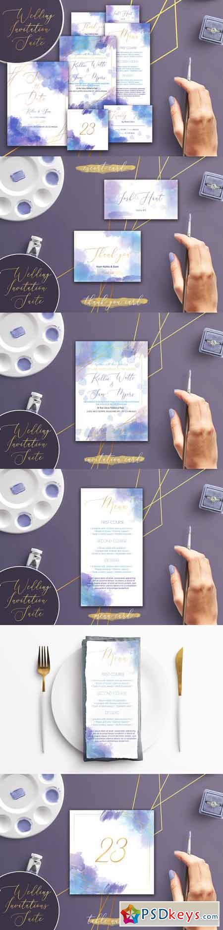 Watercolor Wedding Invitation Suite 3186347