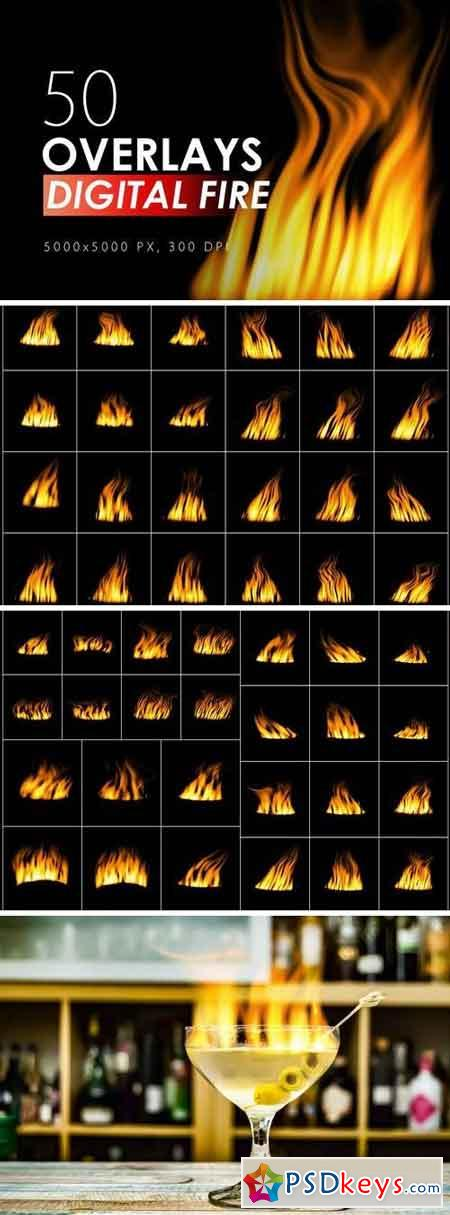 50 Digital Fire Overlays