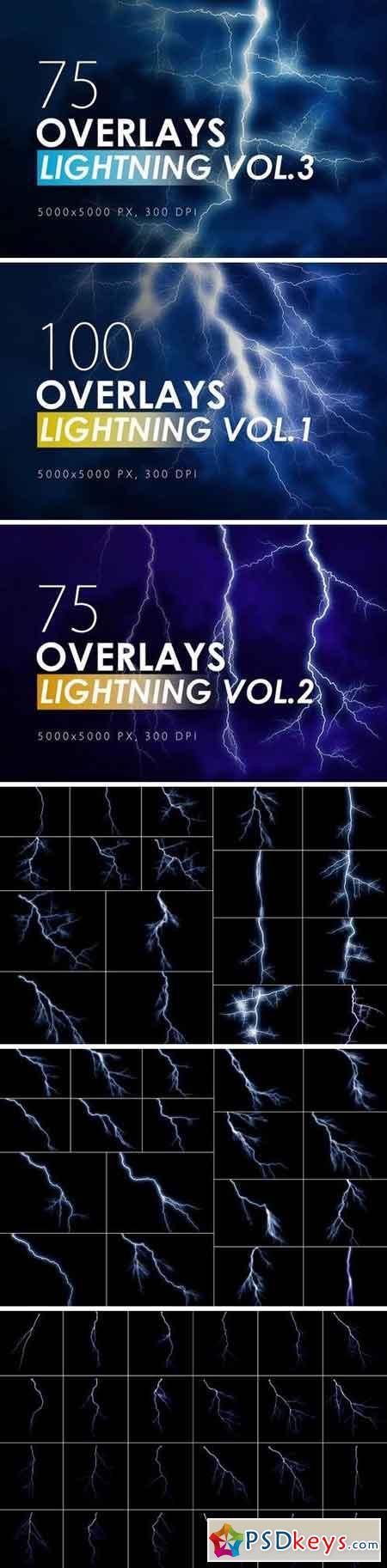 100 Lightning Overlays Bundle
