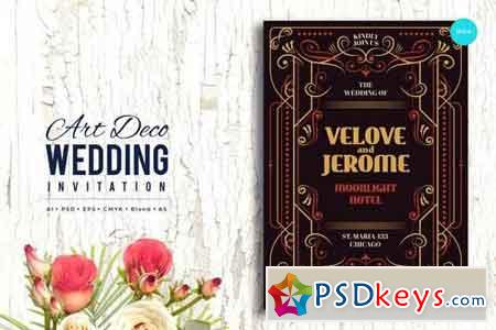 Art Deco Wedding Invitation PSD And Vector Vol 4