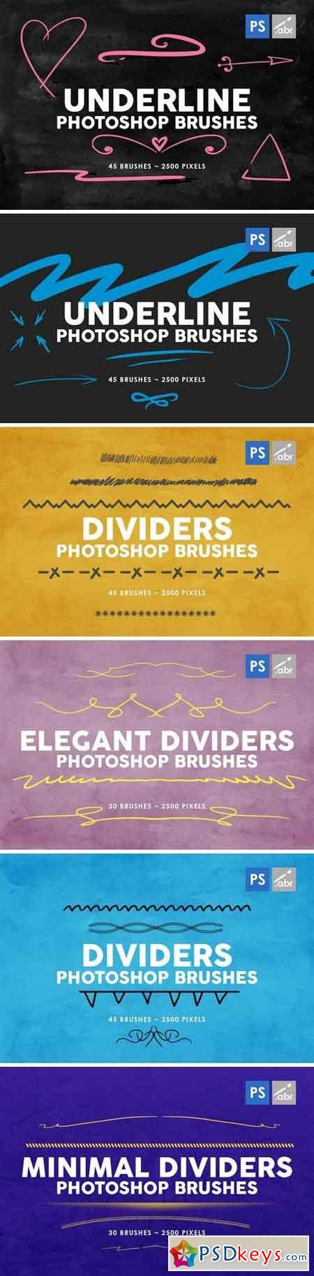 240 Dividers and Underline Photoshop Stamp Brushes