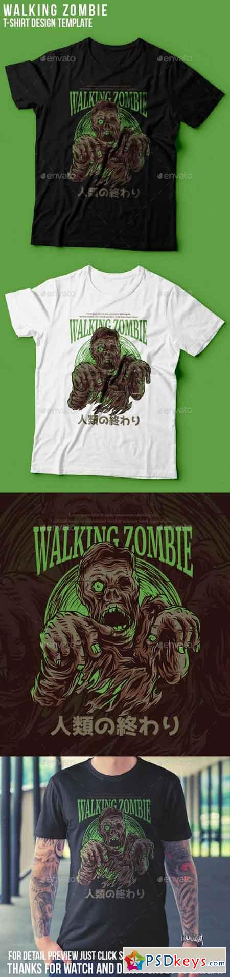 Walking Zombie T-Shirt Design 22801465