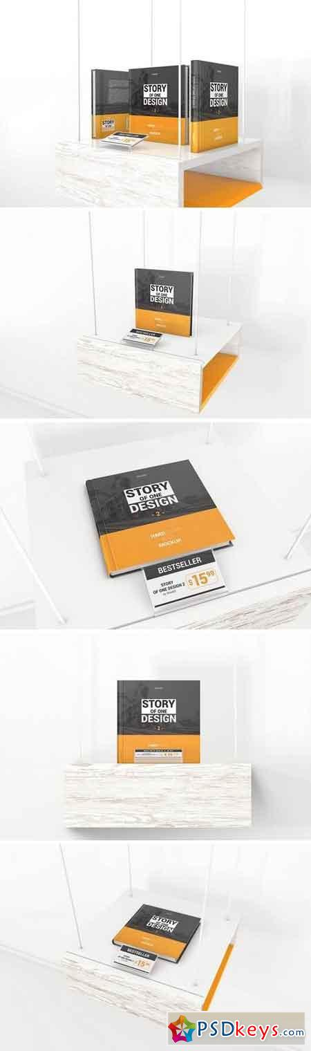 Hardcover Square Book With Price Tag Mockups