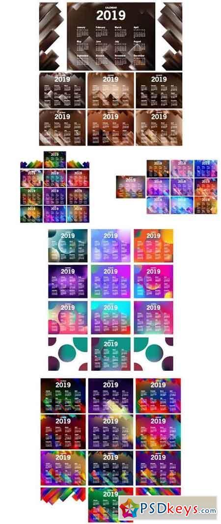 Stock Vector - Calendar 2019 Template Design