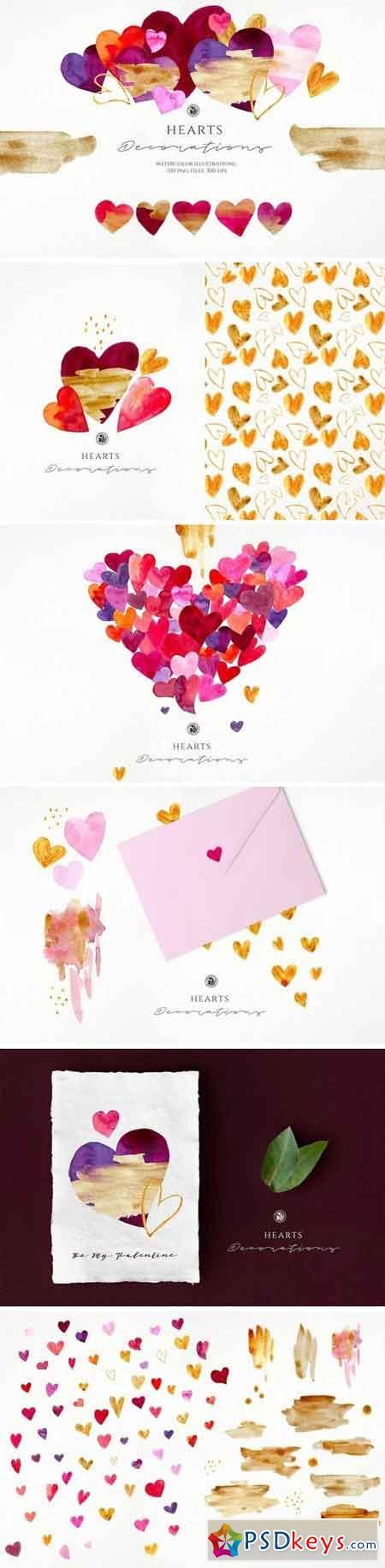 Hearts - watercolor illustrations 3221567