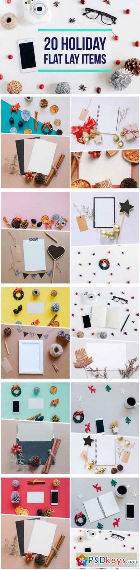 20 Holiday flat lay items collection 1064149
