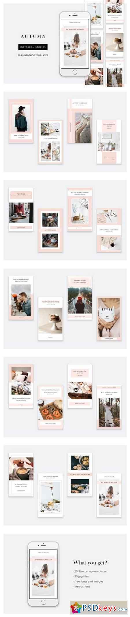 Autumn Instagram Stories – 20 Photoshop templates 772671