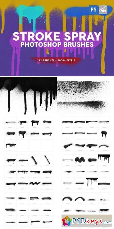 69 Stroke Spray Photoshop Stamp Brushes