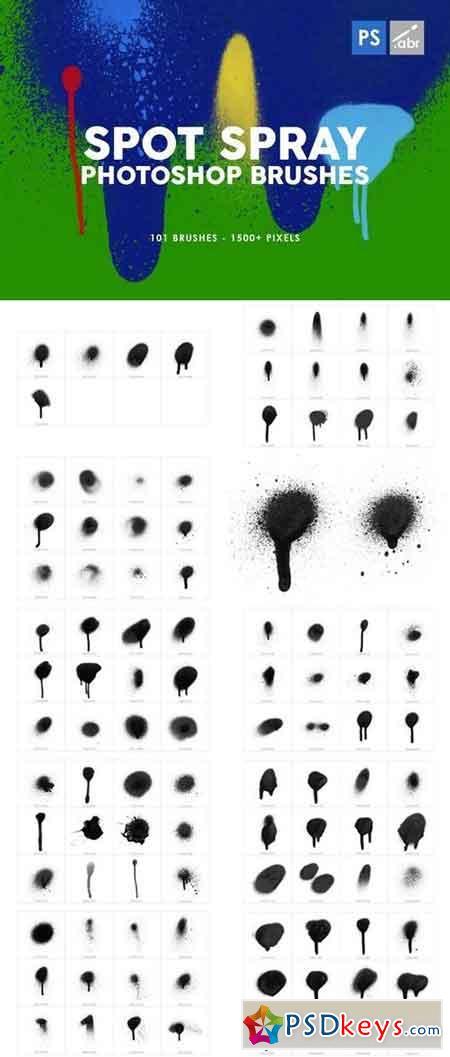 101 Spot&Blob Spray Photoshop Stamp Brushes