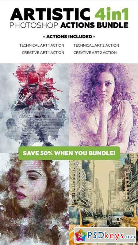 Artistic 4in1 Photoshop Actions Bundle 21308151
