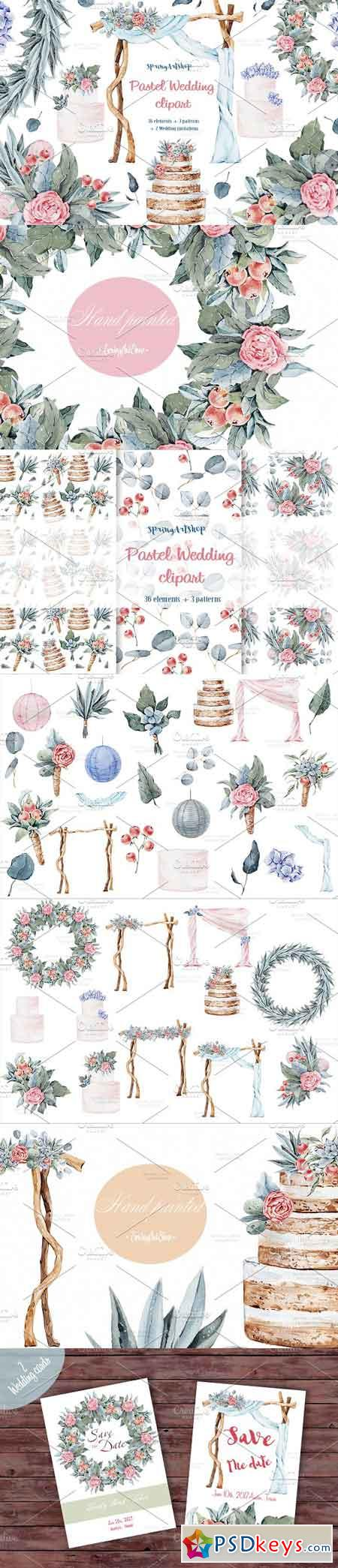 Pastel wedding watercolor clipart 1522384