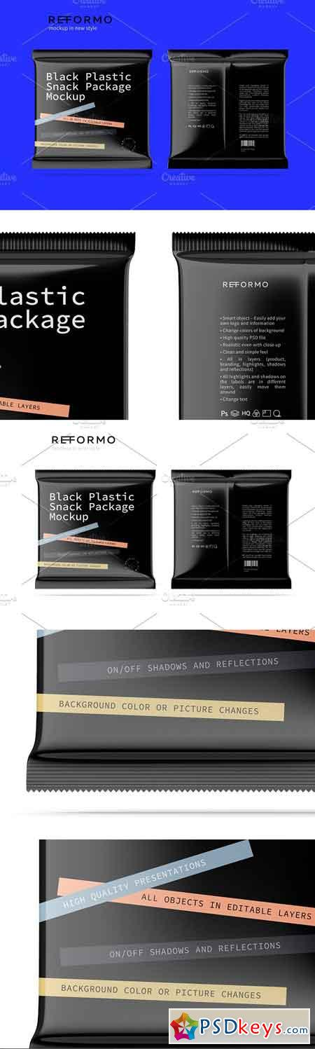 Black Plastic Snack Package Mockup 3245594