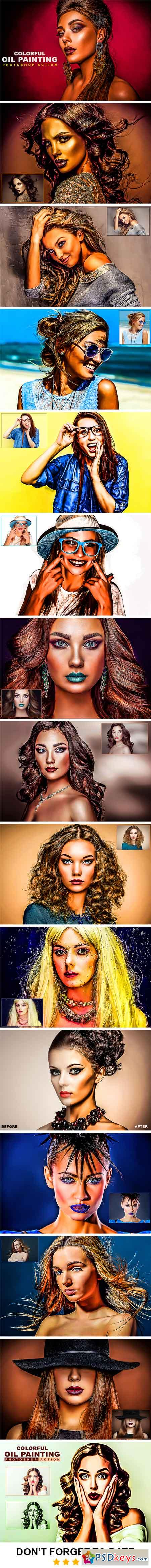 Colorful Oil Painting Photoshop Action 22933832