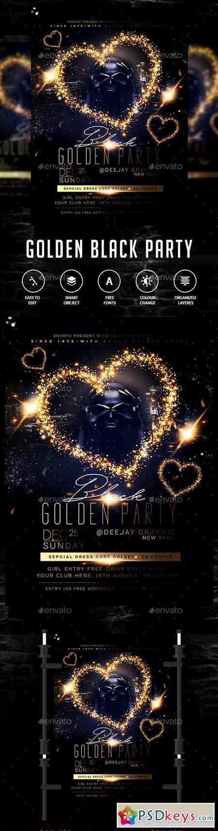 Golden Black Party Flyer 22876162